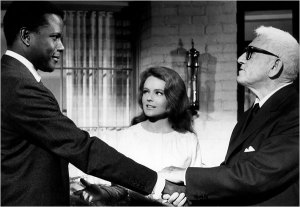 """Sidney Poitier with Katharine Houghton and Spencer Tracy in """"Guess Who's Coming to Dinner."""" (Everett Collection, courtesy of The New York Times)"""